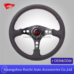 Racing Sport Style Black Leather w/ Red Stitching 350MM Steering Wheel