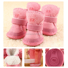 Hot Sale Pet Dog Cats Puppy Pink/Coffee Lovely Winter Warm Soft Cozy Cotton Boots Shoes