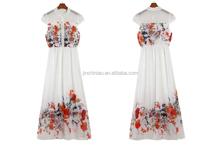women fashion long printed chiffon dress with knitted fabric lining