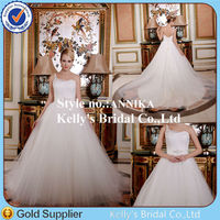 Annika Hot sale wedding dress 2014 one shoulder made in tulle and beading belt