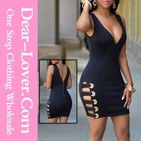 Wholesale latest mature Black Womens V Neck Sexy Loaded evening short dress black