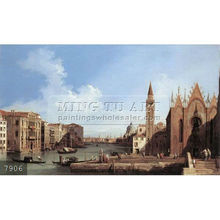 Handmade famous boat paintings on canvas by Canaletto, Grand Canal, from Santa Maria della Carit,to the Bacino di San Marco