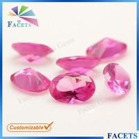 FACETS GEMS High Quality Perfect Cut Synthetic Gemstone Egg 3# Pink Ruby