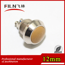 12mm waterproof stainless steel Yellow wireless switch push button with 2 screws