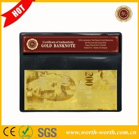Manufacturer Supply 24k Gold Banknote Switzerland 200 Franc Banknotes Paper Money in Protect Sleeve