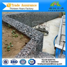 Hexagonal wire mesh gabions rock filled box