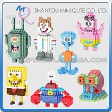 Mini Qute WISE HAWK 7 styles SpongeBob SquarePants Plankton Sheldon diamond plastic building block cartoon model educational toy