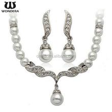 Newest Design Wholesale Diamond Necklace Pearl Wedding Jewelry Set