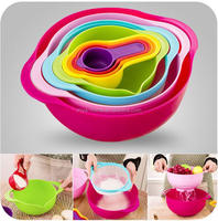 2015 New design colorful plastic rainbow mixing bowl/salad plastic bowl