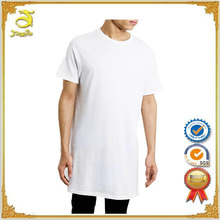 Fashion arc-shaped side extended plain white mens long tee