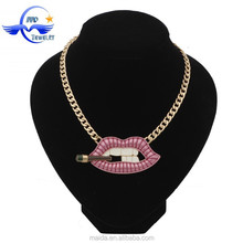 Gold necklace designs girls fancy jewelry, pink lip with a cigarette pendant necklace