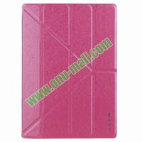 3 Folios Leather Case Cover for iPad Air/iPad 5 with Triangle Holder(Rose)