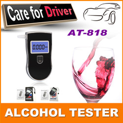 Factory Certificated Alcohol Breath Tester Breathalyzer MCU Control Digital LCD Breath Alcohol Tester With Blue Backup AT818