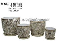 Outdoor terracotta flower pot set