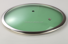 Tempered green color glass cookware lid with stainless steel ring