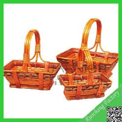 2015 Hand- made decorative fruit basket/ cheap wicker basket with handle for sale