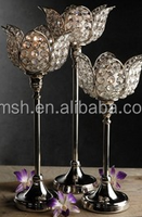2015 Crystal lotus flower centerpiece, Tall crystal lotus flower shape candle holder
