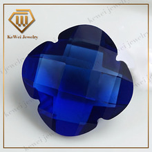Wholesale Synthetic Tetrapetalous Plum Blossom Deep Blue Glass Stone