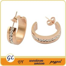 Fashion ear pin stainless steel rose gold plated crystal clip on earrings for womens ladies ear accessories