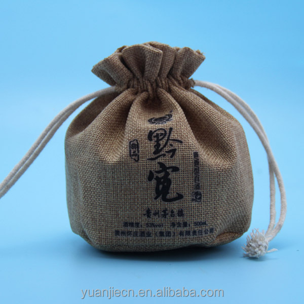 wholesale 500ml glass bottles jute bag with printing logo