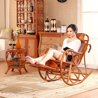 Stock Foot Massage Flat Pack Cane Wood Rattan Antique Wicker Rocking Chairs for Sale