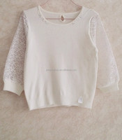 O-neck pure pullover,organza sleeve stitching sweatershirt,sweater without hood