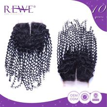 Lowest Price 100% Real Lace Bohemian Hair Pieces Kinky Afro Curly With Closure