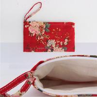 2015 New Hot Sell Cotton Fabric Wrist Handle Clutch Purse Bag (XJHB238)