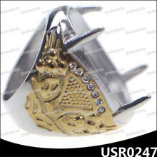 Embossing stamp gold prong setting ring stones for mens rings