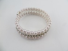 Europe styles big double artificial pearl cup chain bracelet