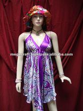 Vestido de seda del cuello del halter - vestido del beachwear - vestido del satén de las señoras - túnicas - tapas