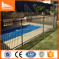 alibaba express Black Steel Privacy Flat top pool fence / Cheap security Flat top pool fence