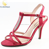 FLAMINGO 2015 LATEST ODM/ OEM New arrival Red Satin diamond High heel sandals elegant party women shoes