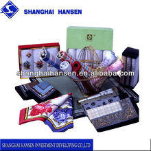 Gift box & polyester-cotton and cotton fashion grid best sell handkerchief