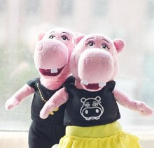 Best Selling Plush Toy Couple Hippos/Soft Toy Hippo in Pink Skin/Stuffed Toy Hippo For Wedding Gift