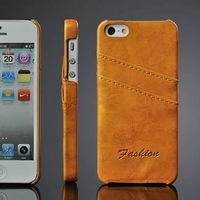 Back ID card slots yellow PU leather back case for Iphone 5 5S