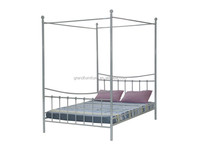 Modern bedroom furniture four poster double bed with iron canopy