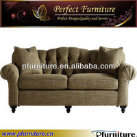American style chesterfield linen booth tufted sofa PFS60532