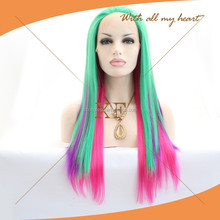 Green pure pink multi color wigs, high quality synthetic hair party wigs accept sample order