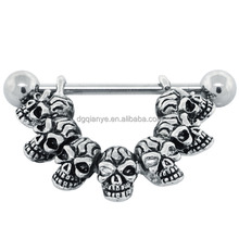 """""""Lucky 7"""" Skulls Nipple Ring Shield"""