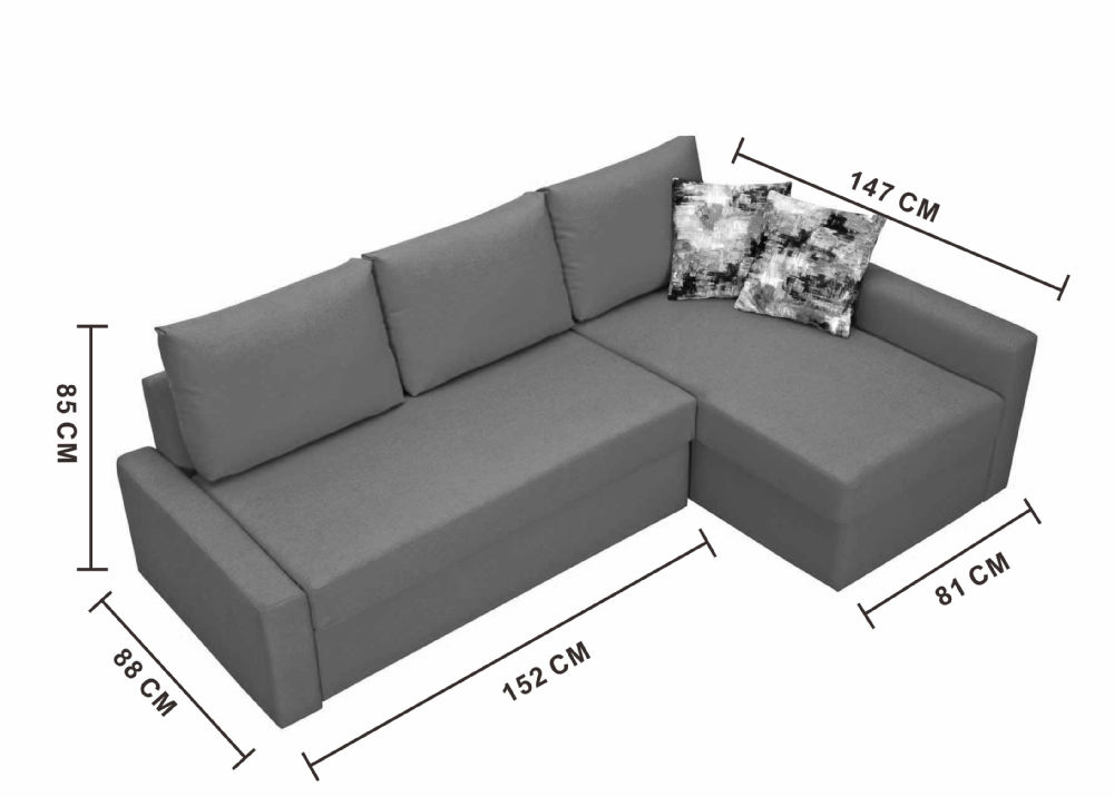 Small corner sofa bed with chaise