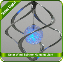 Solar Powered LED Stainless Steel Metal Wind Spinners