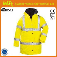 3M EN20471 wholesale alibaba newly 100% polyester pu safety fluo-yellow oil field work o parka/jackets