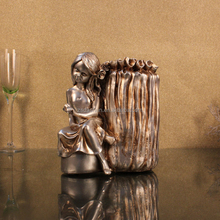 Special design pen with holder, study home decoration girl pen holder, resin girl pen holder crafts