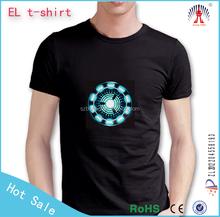 china/el flashing panel for t-shirt/custom el t shirt flashing /led t shirts factory