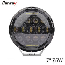 7 inch headlight 75W LED driving light with Halo for jeep wrangler