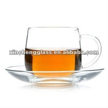 200ml 2012 new design hand-made clear glass coffee cup and saucer with logo
