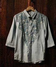 D61840W Japan folk style cowboy half man's shirt