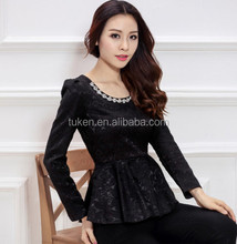 Spring Luxury Set Pullover Floral Beaded Shirt Retro Tops Blouse Slim Fit