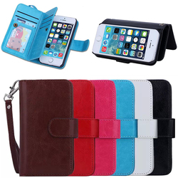 Luxury Detachable Wallet Leather Case for iPhone 5 5S,for iPhone 5S Leather Case